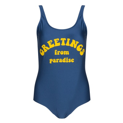 GREETINGS FROM PARADISE BATHING SUIT